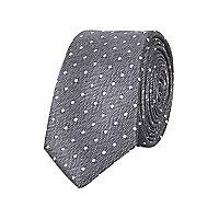 Grey herringbone polka dot print tie