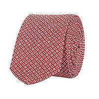 Red geometric print tie