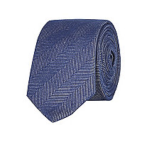 Navy herringbone textured tie