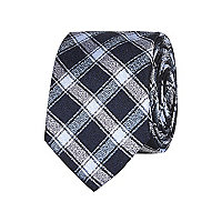 Navy check square tie
