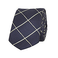 Navy window check tie