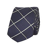 Navy window check tie