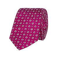 Pink geo print tie