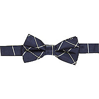 Navy window check bow tie