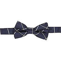 Navy window check bow tie
