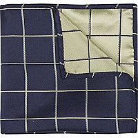 Navy window pane check handkerchief