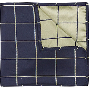 Navy window pane check pocket square