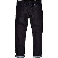 Dark wash denim tailored trousers