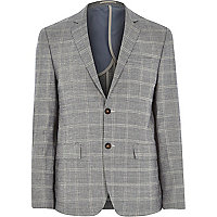 Grey check linen-blend slim suit jacket