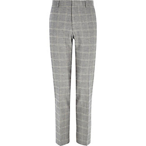 Grey check linen-blend slim suit pants