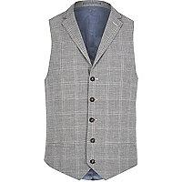 Grey check linen-blend waistcoat