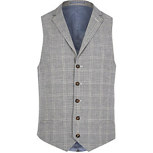 Grey check linen-blend vest