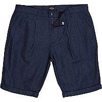 Dark blue cotton tailored shorts