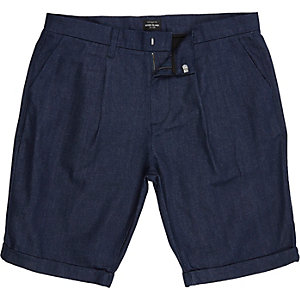 Dark blue cotton tailored bermuda shorts