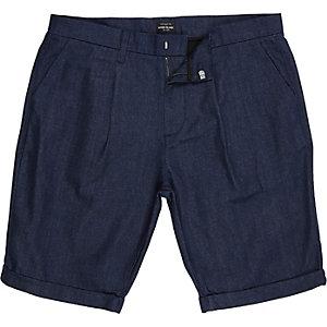 Dark blue cotton tailored bermuda shorts