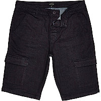 Dark blue tailored cargo shorts