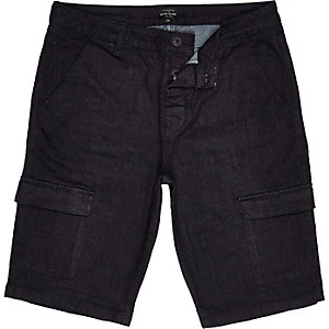 Dark blue tailored cargo shorts