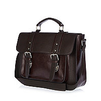 Brown pebbled structured satchel bag