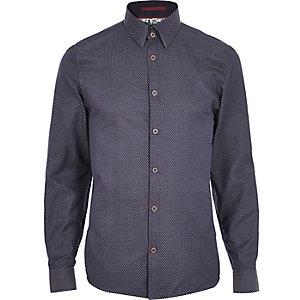 Navy dobby print shirt