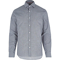 Grey subtle check print shirt