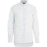 White grid check print long sleeve shirt