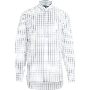 White grid check print long sleeve shirt