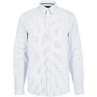 White micro arrow print shirt