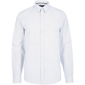 White micro arrow print shirt