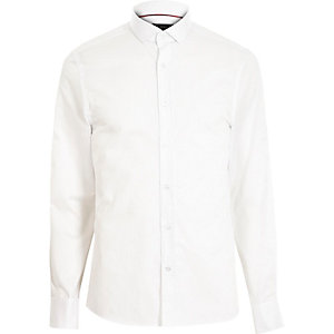 White cotton double cuff long sleeve shirt