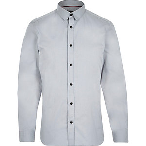 Grey penny collar long sleeve shirt