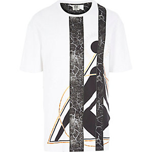 White RI Studio print panel t-shirt