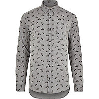Grey bike print Oxford long sleeve shirt