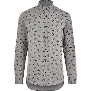 Grey bike print Oxford long sleeve shirt