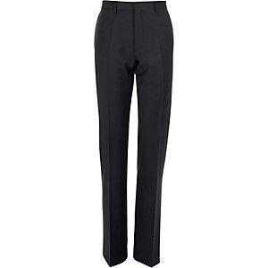 Navy wool-blend smart trousers