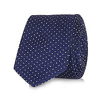 Navy dot print textured tie