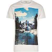 White LA photo print short sleeve t-shirt