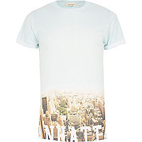 White New York skyline fade print t-shirt