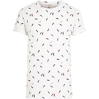 White feather print round neck t-shirt