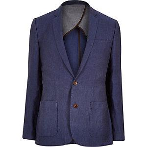 Blue linen slim suit jacket