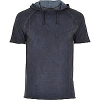 Blue washed raglan sleeve drawstring hoodie