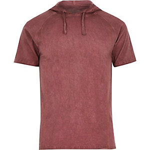 Red washed raglan sleeve drawstring hoodie