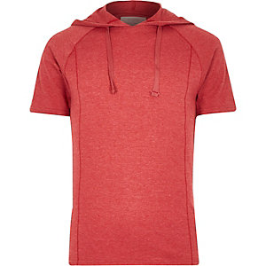 Red washed raglan sleeve drawstring hoodie