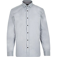 Grey contrast button long sleeve shirt