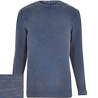 Blue Bellfield knitted long sleeve jumper