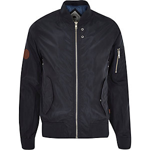 Navy Bellfield zip through bomber jacket
