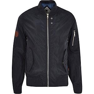 Navy Bellfield zip through bomber jacket