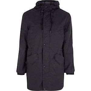 Black Bellfield rain proof hooded parka coat