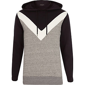 Grey Antioch chevron print hoodie