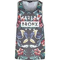 Black floral Harlem Bronx print vest