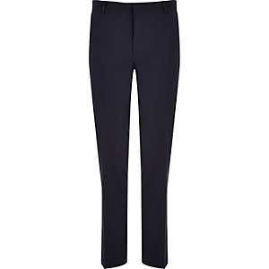 Navy wool-blend slim suit pants
